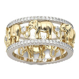 Pure Copper Antique Gold Color Lucky 3D Elephant Ring Romantic Zircon Ring For Man/Woman Jewelry