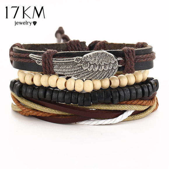 17KM Turkish Wing Bracelets for Women Men Beads Wristband Cuff Leather Bracelet Ethnic Vintage Jewelry