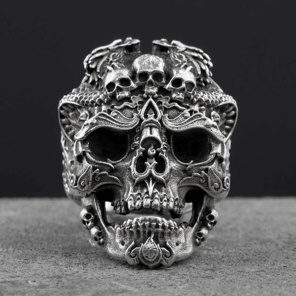 S925 Silver Skull open rings for man Vintage fashion jewelry gift