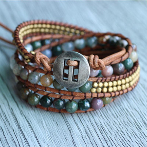 Triple India Stone On Natural Leather Strand Bracelets Handmade Jewelry
