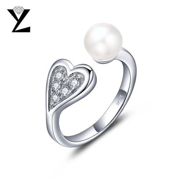 YL Real Pure 925 Sterling Silver Love Engagement Rings for Women Fine Jewelry with 7mm Natural Freshwater Pearl Wedding Jewelry
