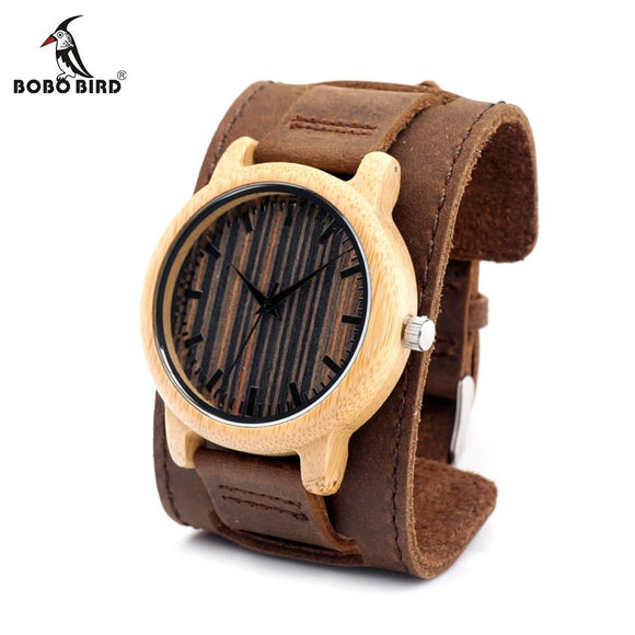 BOBO BIRD CaH08 Vertical Stripes Dial Bamboo Watch Leather Band Japan 2035 Quartz Watche OEM Customize