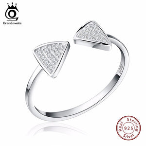 ORSA JEWELS Genuine 925 Silver Rings CZ Paved Bow Open Cuff Adjustable Finger Girl's Rings for Women SR01