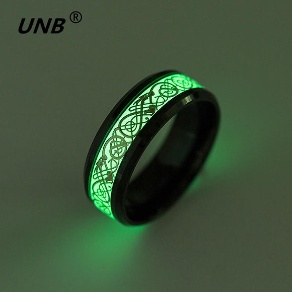 UNB 6 Style Stainless Steel Dragon Ring Jewelry Dragon for Men Luminous Rings Carbon Fiber Nibelungen Ring