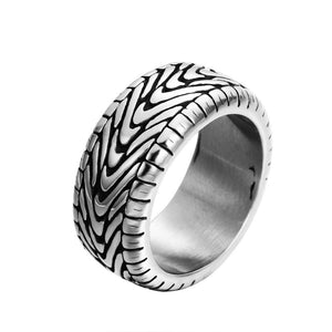 ZMZY Antique Black Vintage Gothic Punk Large Stainless Steel Biker Rings for Men Carved Tires Ring Women Jewelry