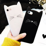 For Samsung Galaxy S6 S6 Edge S7 Edge S8 S8Plus Case Cute 3D Black beard Cat Ears Animal Cartoon Capa Soft Silicone Phone Cases