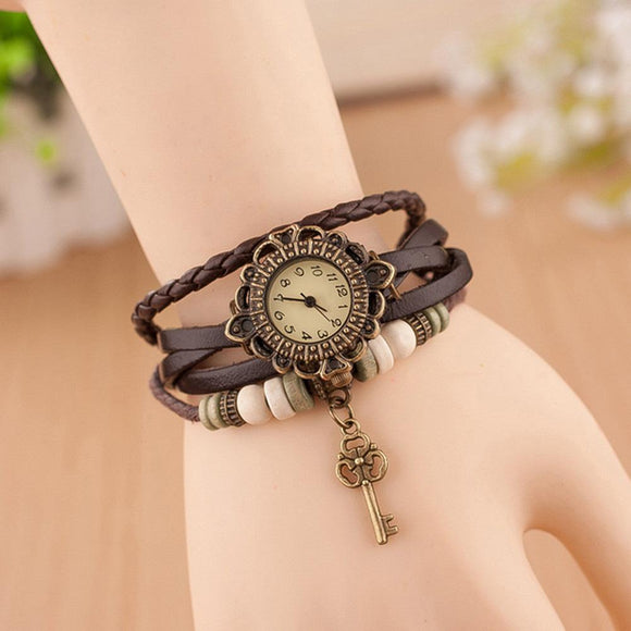 Vintage Fashion Casual Watches Women Leather Strap Clock Hour Weave Key Bracelet Wristwatch Relogio Feminino New YearGifts