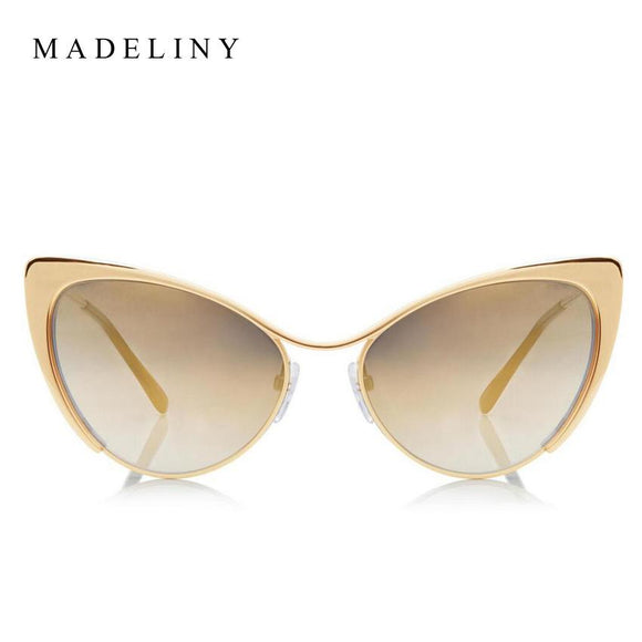 MADELINY Fashion Metal Cat Eye Sunglasses Women Brand Designer Cat Eye Sun Glasses