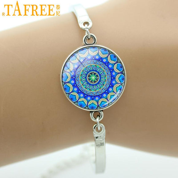 TAFREE Brand Mandala Flower art charm bracelets bangles Glass Dome Silver Plated Lotus Buddhist Women jewelry for wedding bridal