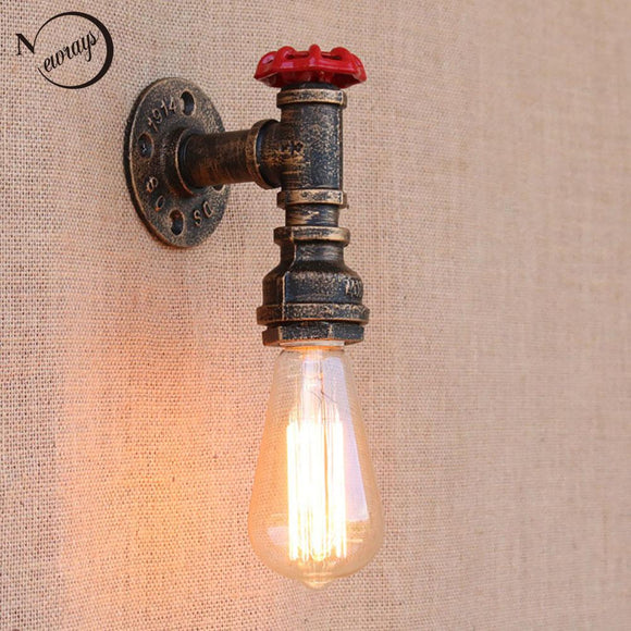 Steam punk Loft Industrial iron rust Water pipe retro wall lamps Vintage E27 LED sconce wall lights for living room bedroom bar