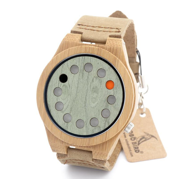 BOBO BIRD CbA03 Bamboo Watch with 12 Holes Dial Casual Japaness Quartz Watch for Unisex in Paper Gift Box