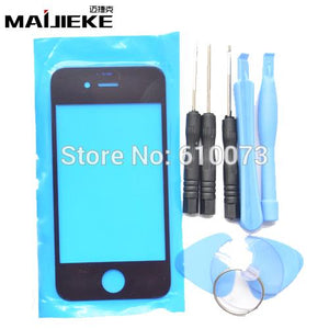 Front Outer Glass Lens Kits for iPhone 4S Front Cover Replacements for iPhone 4 Repair Parts Tools Black White