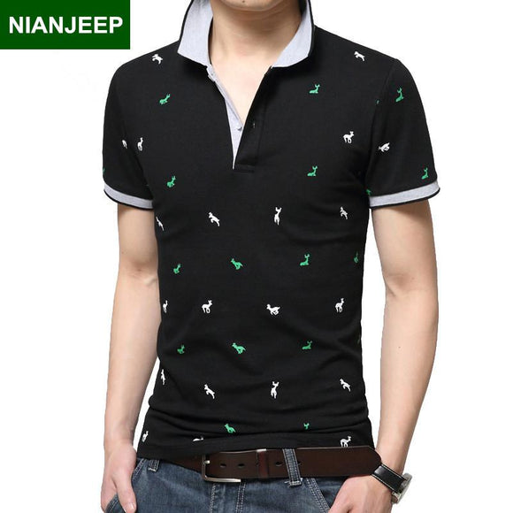 2017 summer new NIANJEEP Brand cotton mens POLO shirt Breathable casual short sleeved Polos shirts man printing male shirt M-3XL