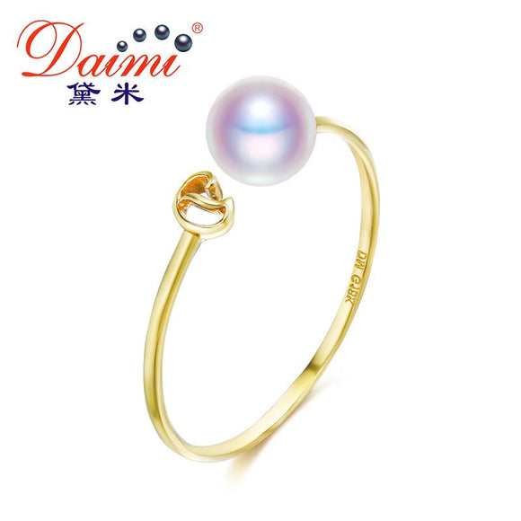 DAIMI Natural Pearl Ring Genuine 18K Gold Ring White Freshwater Pearl Ring Brand Jewelry Gift For Women