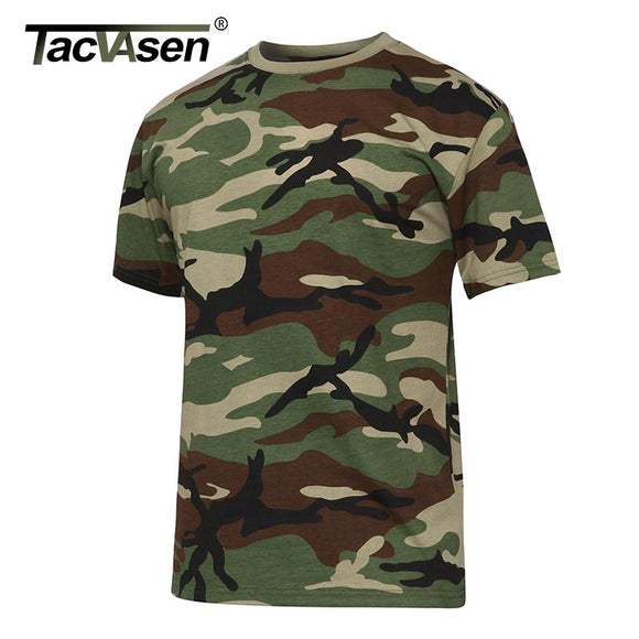TACVASEN Men's Summer Tactical Shirt New O-neck Short Sleeve Cotton T Shirt Men Casual T Shirt Camouflage Army Military T-shirts