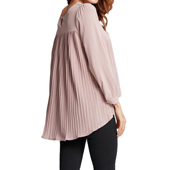 4XL 5XL Women Chiffon Blouse Pleated Back Long Sleeve Asymmetric Shirt Loose Casual Plus Size Shirt Oversized Tops Female 2017