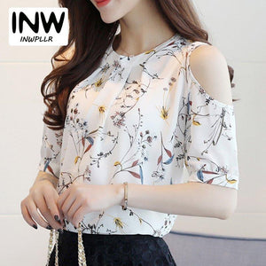 Summer Style 2017 Floral Shirt For Womens Elegant Open Shoulder Blouses Chiffon Print Blusas Women Ete Plus Size Female Tops