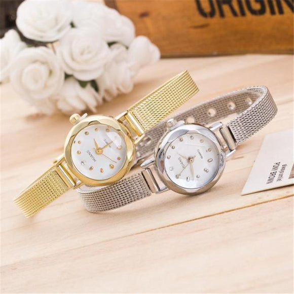 Charming Elegant Waterproof Women Ladies Small Dial Stainless Steel Mesh Band Silver,Gold Wrist Watch Relojes Mujer Gifts