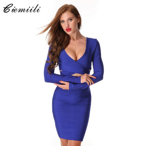 CIEMIILI Women 2017 Hollow Out Bandage Dress Sexy Party Dress Blue Long Sleeve Bodycon V-Neck Dress New Runway Fashion Dresses