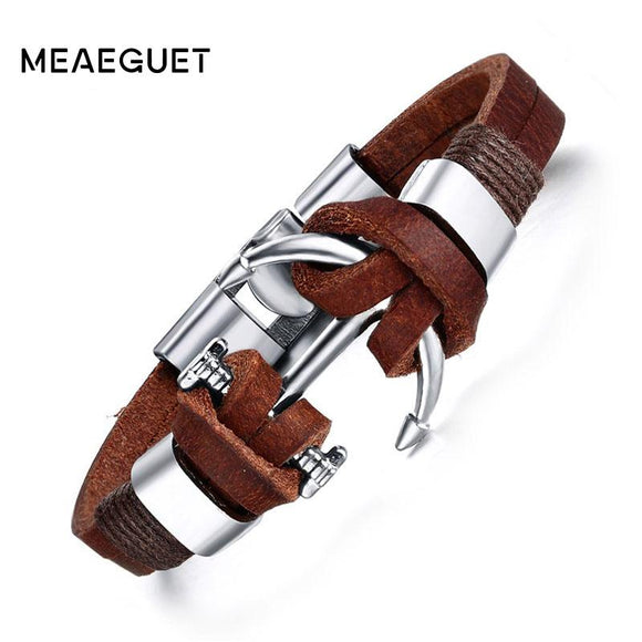 Meaeguet Men's Brown Leather Charm Bracelet Jewelry Vintage Anchor Bracelet For Male
