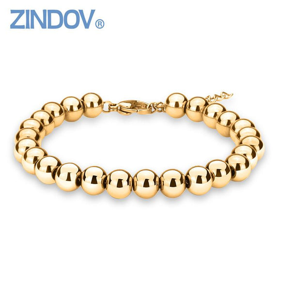 ZINDOV Hot Trendy Silver Rose Gold Filled 316L Stainless Steel Beads Bracelets Female Women Bangles Jewelry Bracelet Gold Color