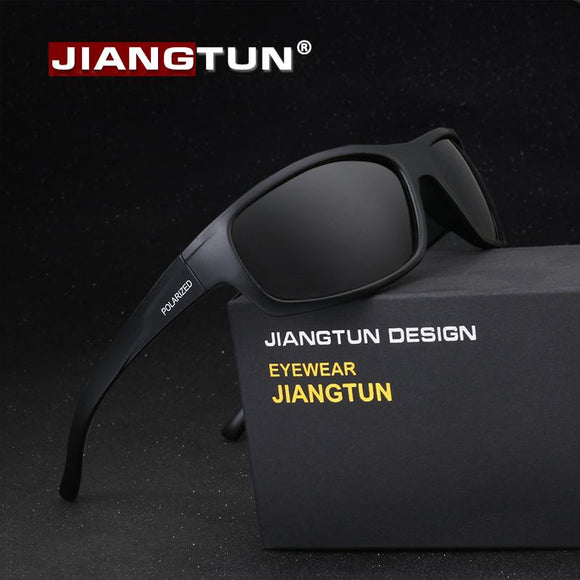 JIANGTUN Sport Sunglasses Polarized Men Women Brand Designer Driving Fishing Polaroid Sun Glasses Black Frame