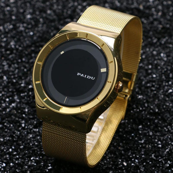 PAIDU Women Men Super Fashion Luxury Style Turntable Wrist Watch Golden Steel Mesh Band Lover's Couples Gift