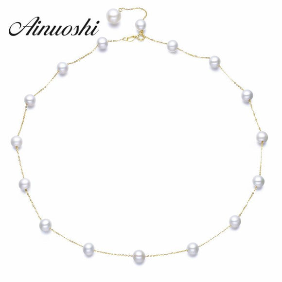 AINUOSHI 100% 18K Yellow Gold Chokers Necklace Natural Freshwater Pearl Chain Jewelry for Women Engagement Necklaces & Pendants