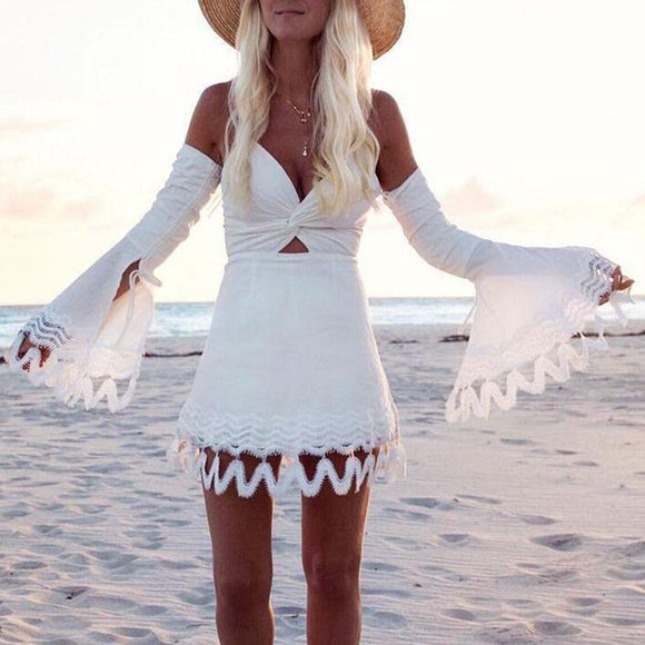 New Arrival Women Sexy Summer Boho Lace Dress Evening Party Off Shoulder Mini Dress Solid Black and White