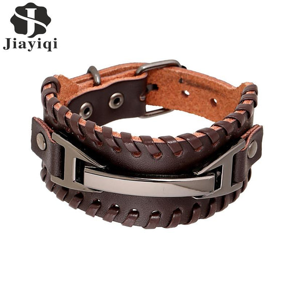 Jiayiqi 2017 Vintage Leather Men Bracelets Punk Handmade Wide Cuff Rope Bracelet Woven Wristband Bangles For Men Jewelry
