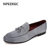 NPEZKGC New Arrival Casual Mens Shoes Suede Leather Men Loafers Moccasins Fashion Low Slip On Men Flats Shoes oxfords Shoes
