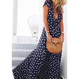 Plus Size Summer Dress 2017 for Beach Black Chiffon Polka Dot Deep V Neck Maxi Dress Tunic Split Sexy Long Party Dress with Belt