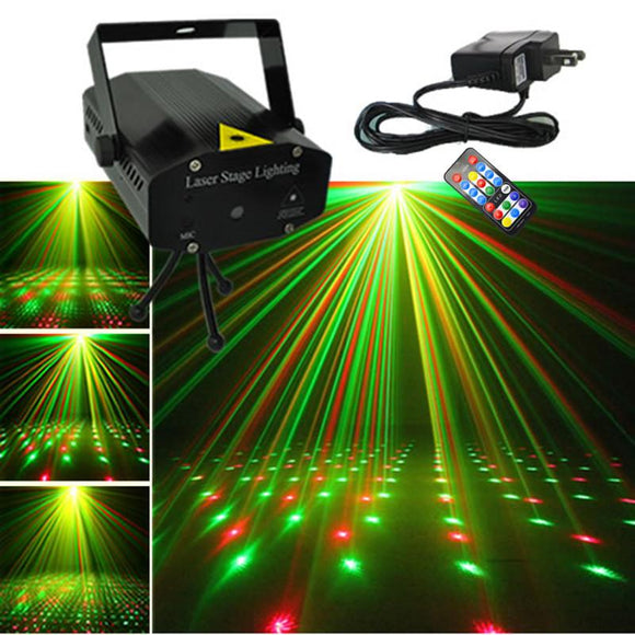 AUCD Mini Black Shell Portable IR Remote Red Green Laser Projector Lights DJ KTV Home Xmas Party Dsico LED Stage Lighting OI100B