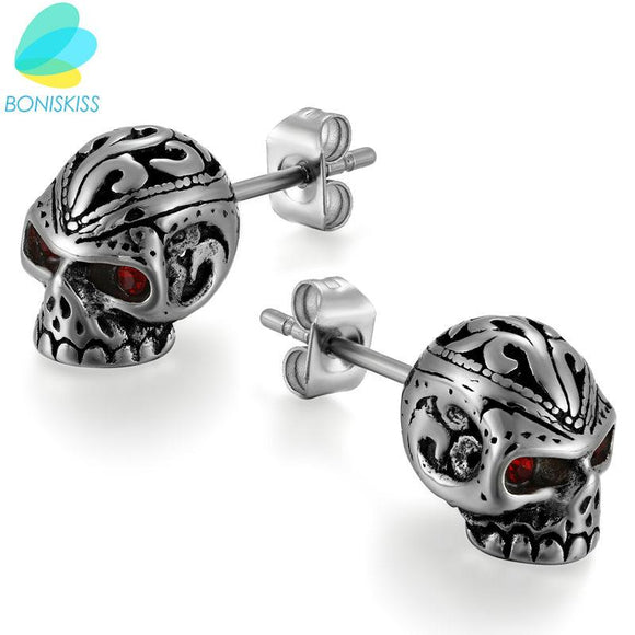 Boniskiss New Arrival Style Stainless Steel Men Trendy Round Punk Skull Stud Earrings For Men Fashionable Jewelry 2017