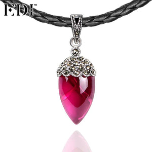 EDI 925 Sterling Silver & Marcasite Fine Jewelry Pink Natural Ruby Black Choker Necklace for Women Antique Thai Silver