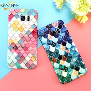 KISSCASE 3D Fish Scales Case For Samsung Galaxy S7 s6 s8 Plus Case A5 A3 2017 Cases Matte Luminous Cover For Samsung A5 A3 Capa