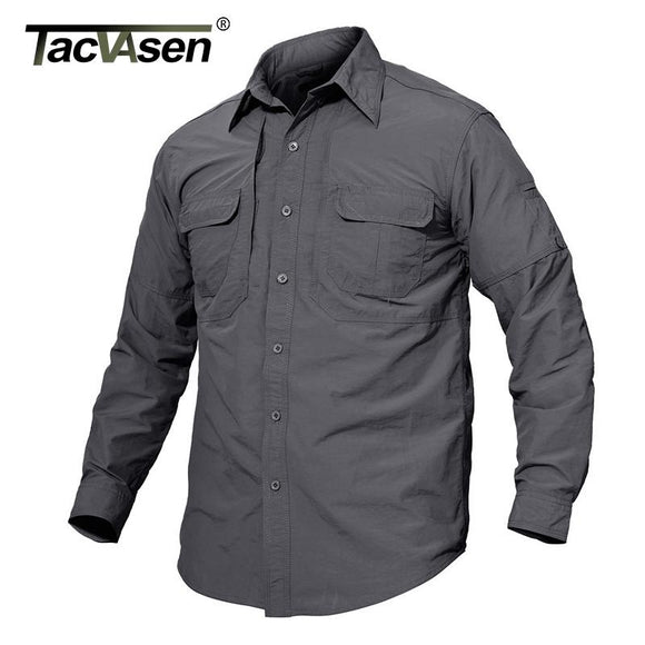 TACVASEN Men's Brand Tactical Quick Drying Shirt Breathable Camp Casual Long Sleeve Shirt Men Combat Military Shirts TD-JNE-003