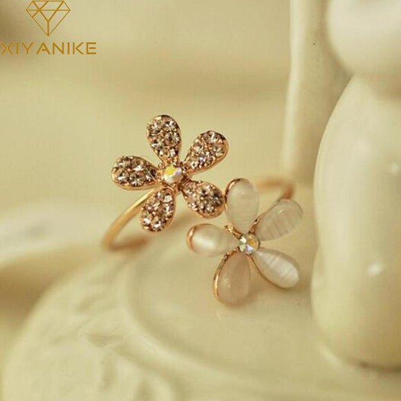 Opal Double Daisy Flower Adjustable Ring Cute Brand Design Rhinestone Hot Sale Rings For Women Fine Jewelry Anel New