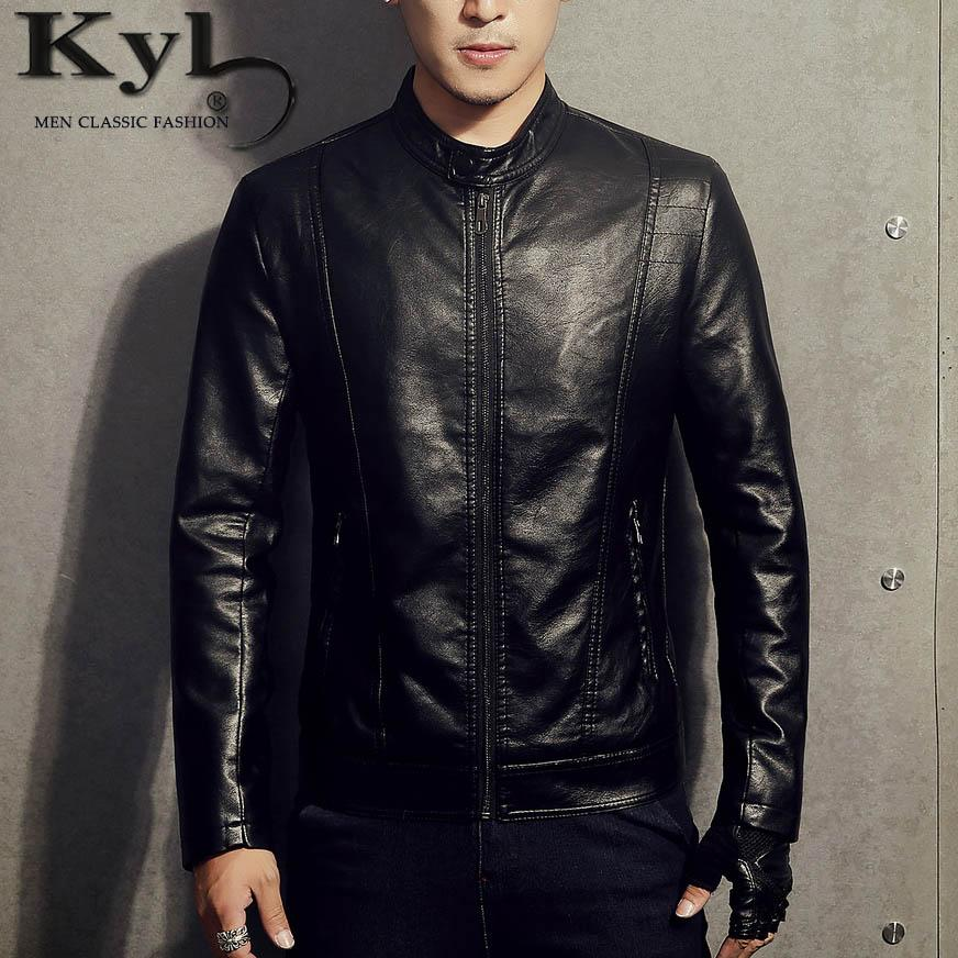 New 2017pu Leather Jacket Men Black Red Brown Solid Mens Faux Fur