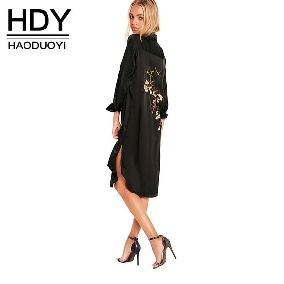 HDY Haoduoyi Women Black Embroidery Shirt Dress Casual Button Down Loose Fit Party Dress Long Sleeves Split Office Work Dress