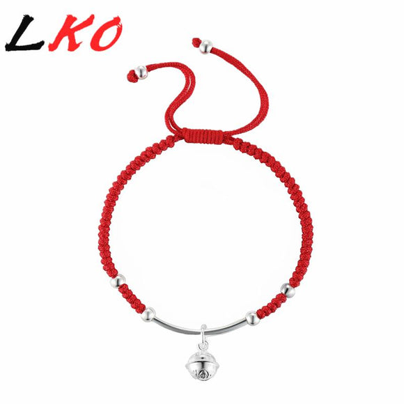 LKO S925 Sterling Silver Bell Lucky Red Rope Shambala Bracelet for man&women