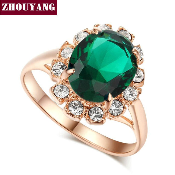 ZHOUYANG Top Quality Rose Gold Color Created Green Crystal Finger Rings Elegant Brand Jewelry CZ Austrian Crystal For Women