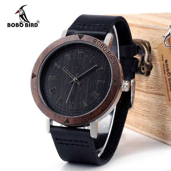 BOBO BIRD WK05 Mens Watch Rome Number Dial Face Soft Leather Band Japan Quartz 2035 Wristwatch Drop Shipping Accept OEM Relogio