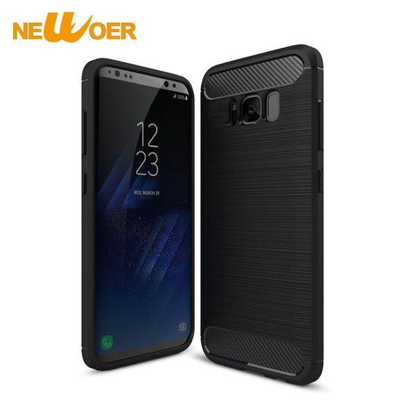 Soft TPU Case For Samsung S8 Cover Ultra Thin Carbon Fiber Brushed TPU Anti-knock Shell Newoer