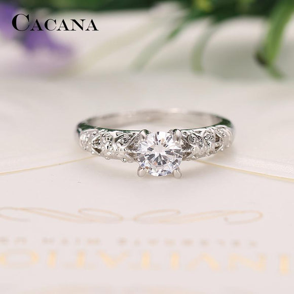 CACANA Cubic Zirconia Rings For Women Decorative Pattern Trendy Zinc Alloy Rings Jewelry Bijouterie