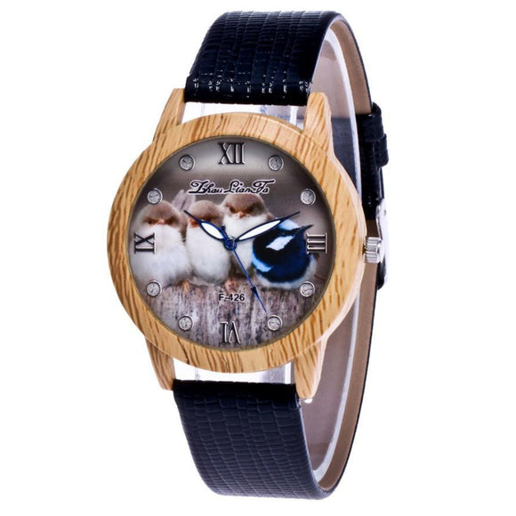 ZhouLianFa Bird Pattern Wood Watch Ladies Leisure Artificial Leather Watches Women Fashion Watch 2017 Gift Reloj