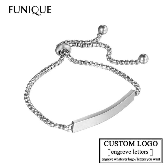 FUNIQUE Customize Engrave Bracelets for Women Stainless Steel Custome Personalized ID Bracelet Logo Engrave Name Bangles Femme