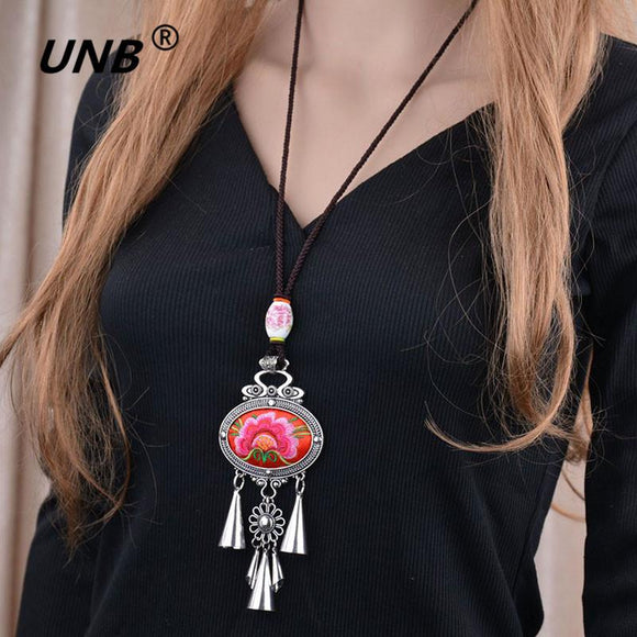 UNB for Women Maxi Necklaces&Pendants Green Flower Embroidery Bohemian Choker Necklace Collar Ethnic 2017 Female BOHO Jewelry