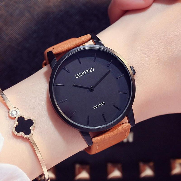 GIMTO Luxury Woman Watch Simple Minimalism Leather Casual Lady Wristwatch Lover's Gift Couple Clock 3 Color Student Female Clock