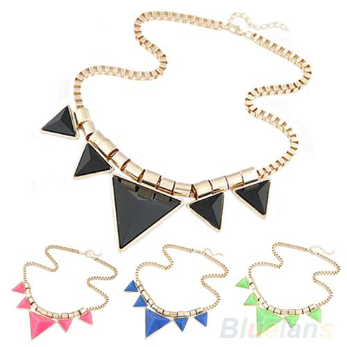 2014 New Fashion Womens Vintage Unique Jewelry Metal Necklace Triangle Gems Pendant Chain Necklace 01BK